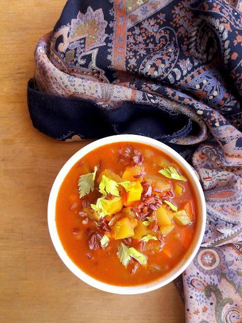 Zupa z ryżem i słodkimi ziemniakami / Sweet Potato and Rice Soup