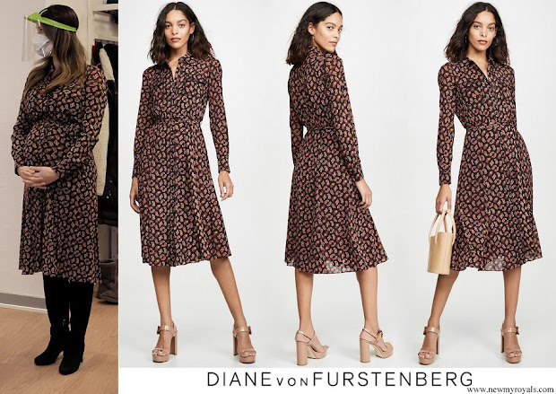 Princess Sofia wore Diane von Furstenberg Andi Mesh Midi Shirt Dress