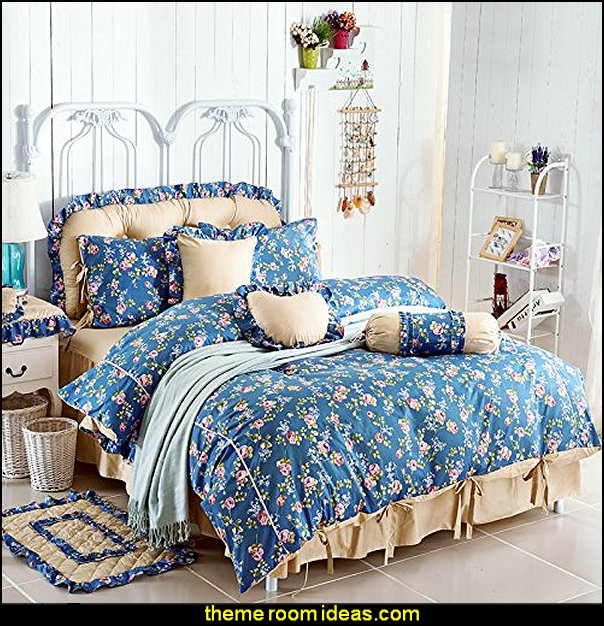 Flowers Blue Polka Dot Bedding Princess Bedding Girls Bedding Duvet Cover Set