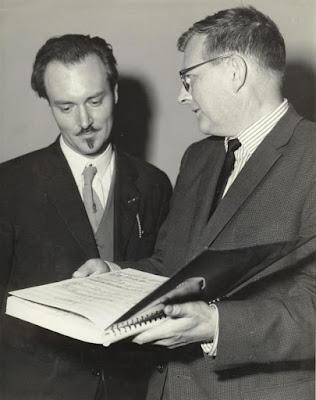 Ronald Stevenson & Dmitri Shostakovich at the 1962 Edinburgh Festival with the score of Stevenson's 'Passacaglia'