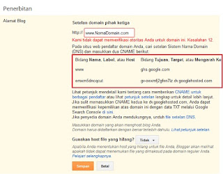 Pengaturan custom domain di Dashboard Blogger