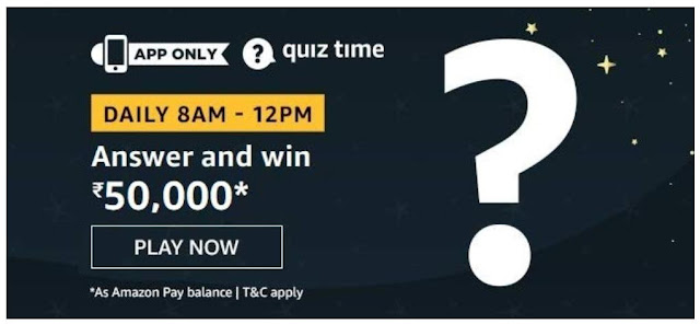 Amazon Quiz Answers Today 06 August 2020 Win 50000 Rupees