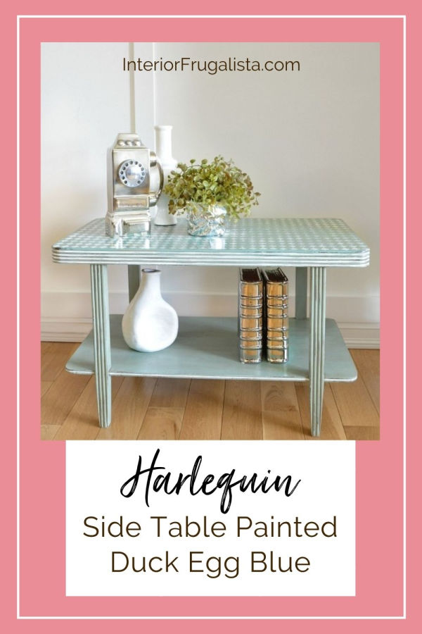 Update a painted Harlequin side table with a stencil! The table was found on an online auction site and was already painted. I just added a stencil to the top to give it a shabby chic feel! #stencil #sidetablemakeover #diy