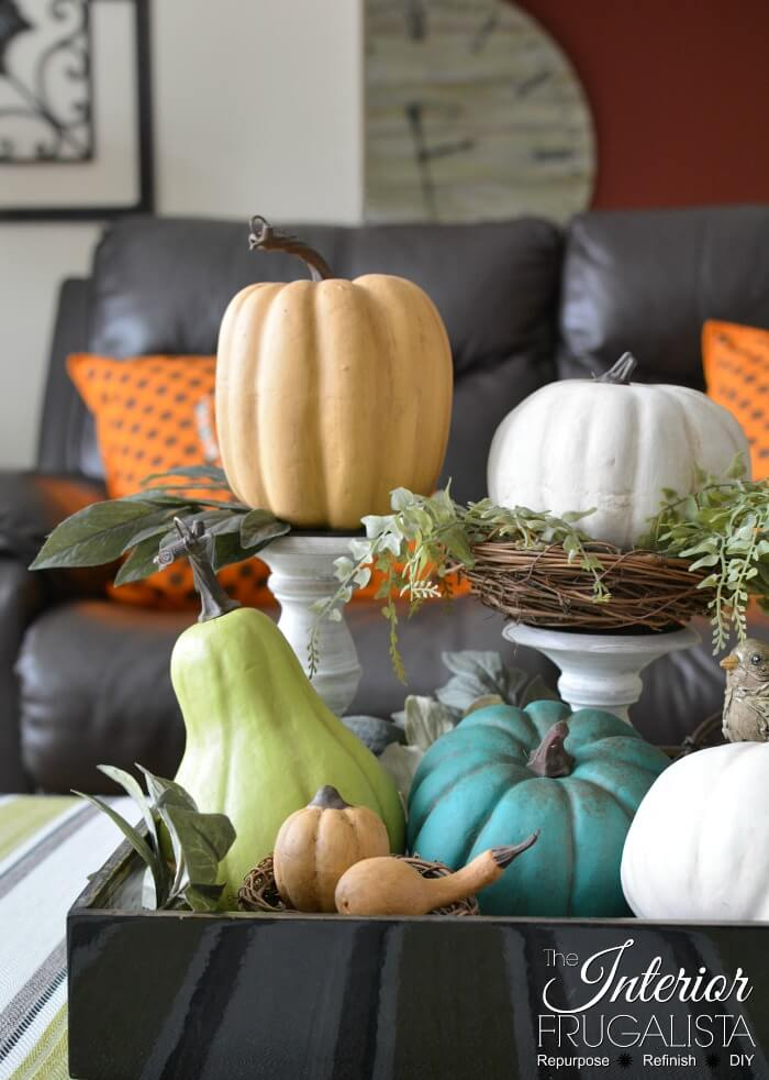 Dollar Store Painted Pumpkin Vignette