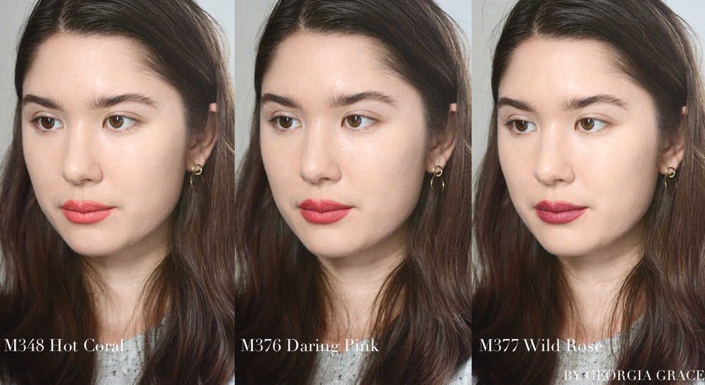 Guerlain KissKiss Matte lipstick review swatches on lips photos caliente beige crazy nude spicy burgundy chilli red zesty orange hot coral flaming rose daring pink wild plum