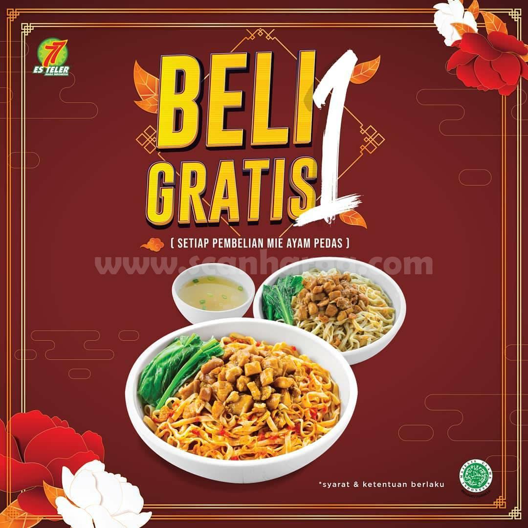 Promo ES TELER 77 BELI 1 GRATIS 1! setiap pembelian Mie Ayam Pedas