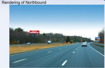 screen grab from the presentation depicting the northbound view of the proposed sign