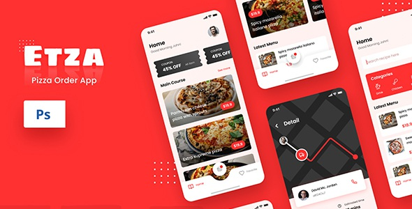 Best Pizza Order iOS App Design PSD Template