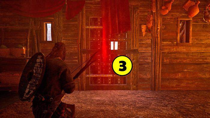 Closed door, red lock