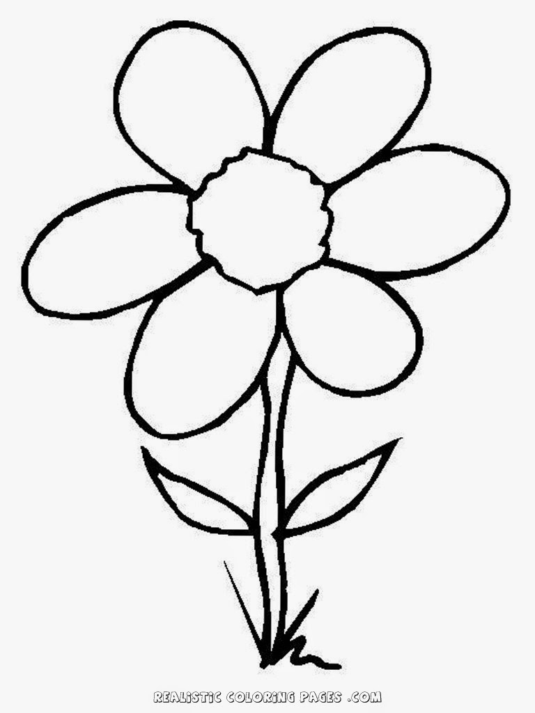 free simple flower coloring pages for kids