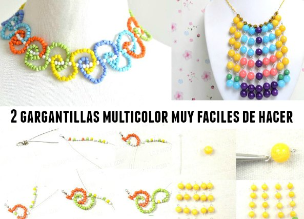 gargantillas multicolor tutoriales, bisutería,