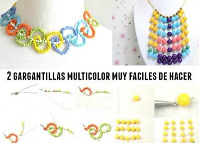 2 Gargantillas con mostacillas y cuentas multicolor