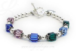 Family 7 Birthstone Bracelet - May or Emerald, December or Blue Topaz, September or Sapphire, June or Alexandrite with a Family Charm with a Family Charm