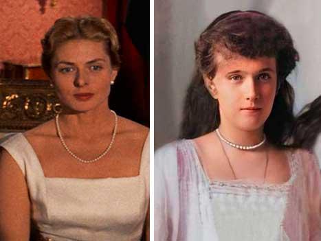Ingrid Bergman e verdadeira Anastasia foto ao lado