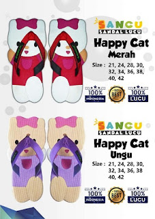 sandal sancu Happy Cat ungu dan pink