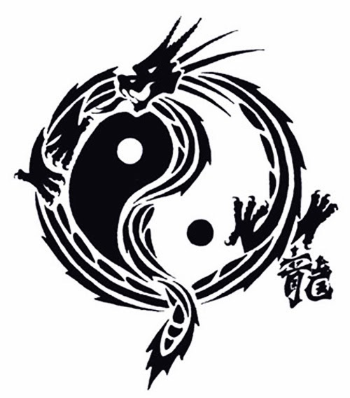 Yin Yang dragon tattoo stencil