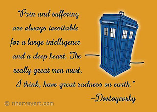 """Dostoyevsky Knew Him?"" quote with police box design"