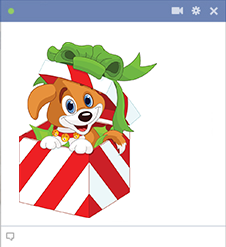 Puppy in a gift Facebook sticker