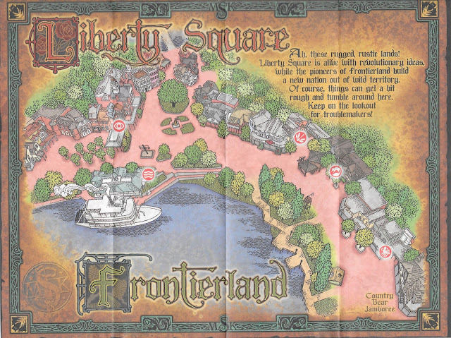 Liberty Square and Frontierland Sorcerers of the Magic Kingdom Map