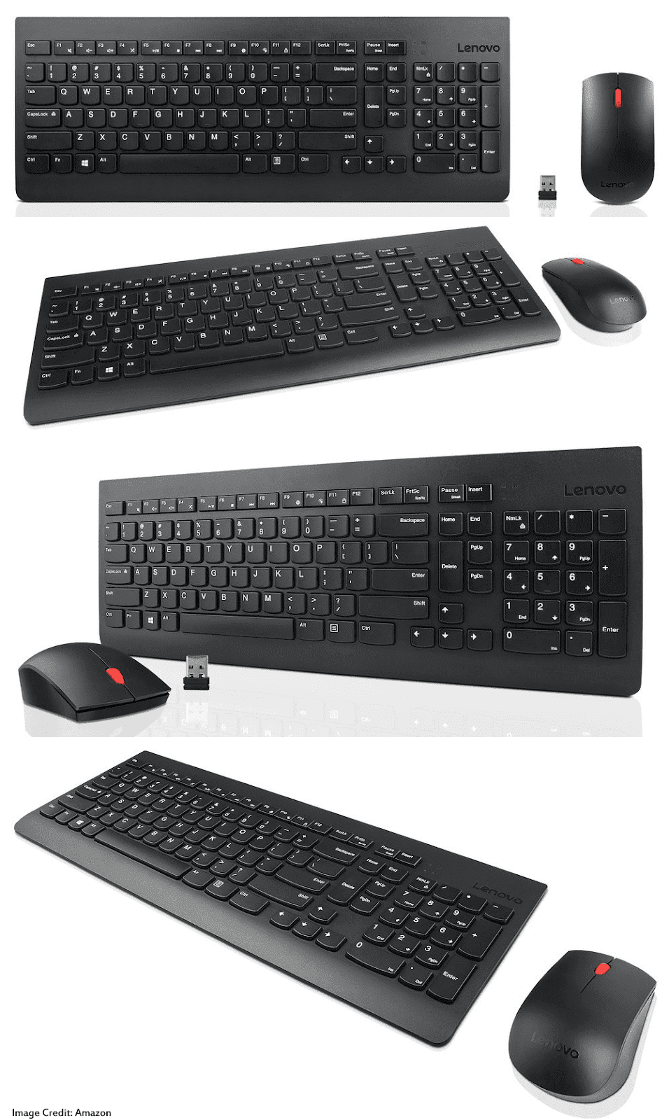The image of Lenovo 4X30M39458 wireless keyboard and mouse combo. Its color is black. Moreover, the keyboard has a total of 104 keys and the mouse a total of 3 buttons. Furthermore, It has a warranty of 1 year.