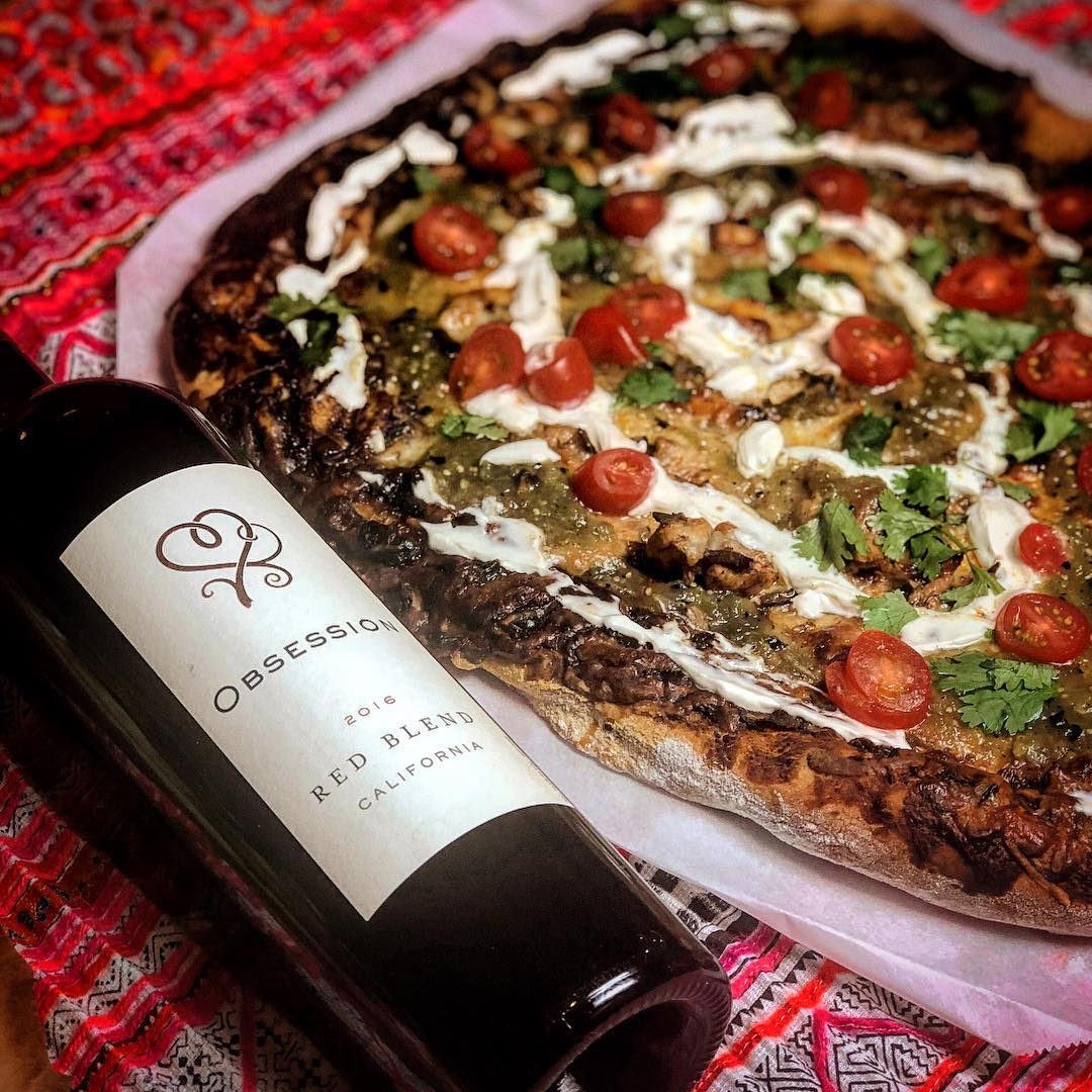 Chicken Mole pizza and Red Blend