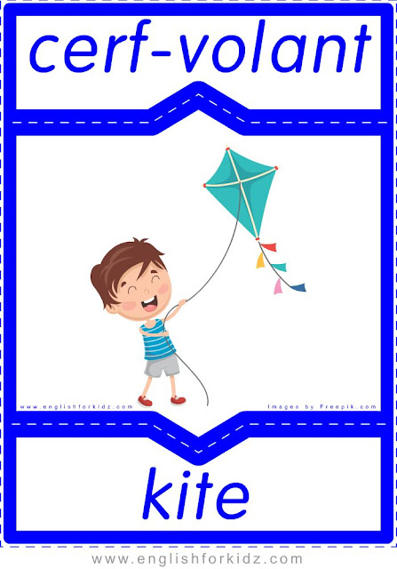 kite in French, cerf-volant en anglais, English-French toys flashcards