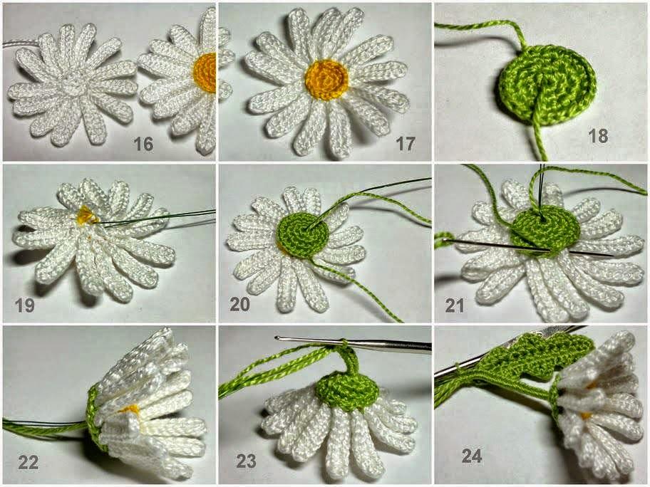 Aplique de Margarita paso a paso - crochet irlandés