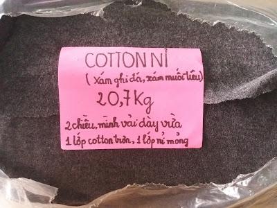cotton nỉ màu xám muối tiêu, 20,7Kg, mình vải dày vừa - 1 lớp cotton mịn, 1 lớp nỉ mỏng