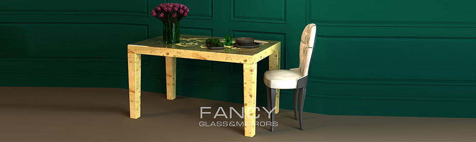 Golden mirrored dining table
