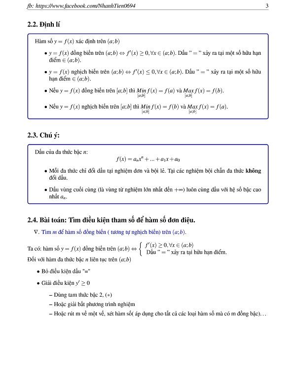 Tóm tắt lý thuyết và công thức tính nhanh chuyên đề Hàm số