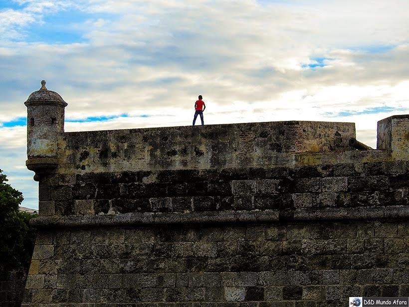 Castelo de San Felipe - pôr do sol em Cartagena