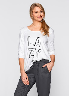 Yuvarlak Yakali Uzun Truvakar Kollu T-Shirt Dokumlu Beyaz bonprix