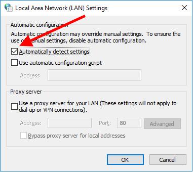 Detectar configurações de proxy automaticamente