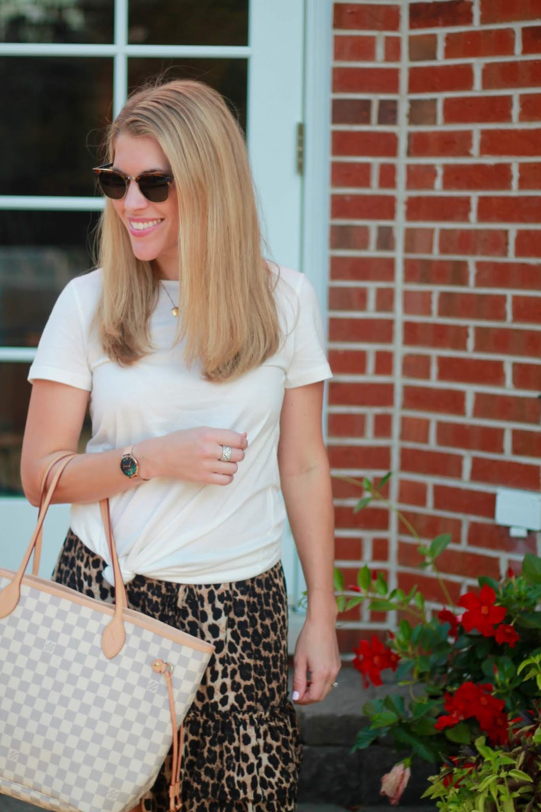 leopard skirt, Starking Watch set, tory burch millers, LV azure Neverfull, white tee