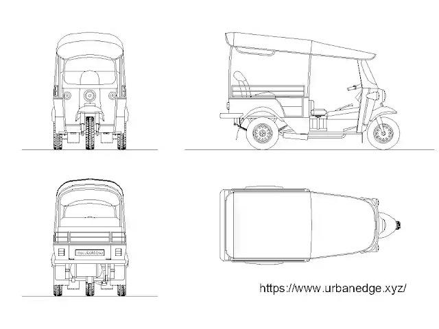 Tuk Tuk auto rickshaw cad blocks free download