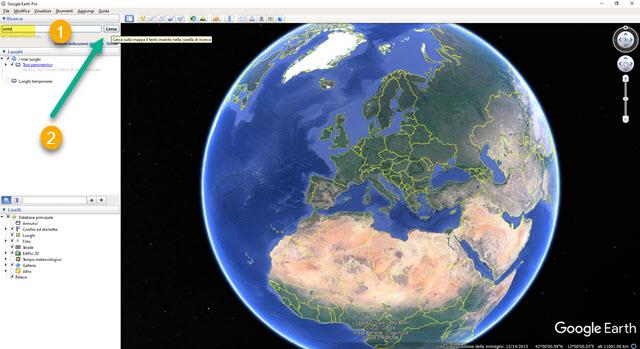 google earth pro interfaccia
