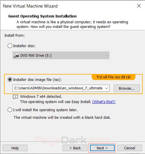 Chọn file image (*.iso) cho máy ảo