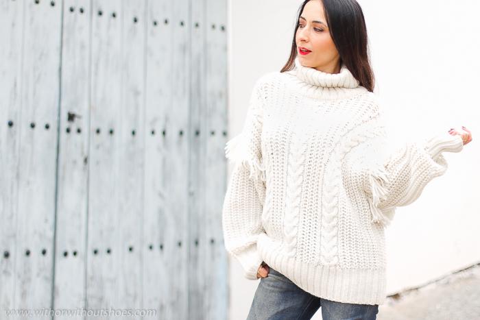 Streetstyle como combinar jersey de lana vaqueros cintura alta y botines vaca AGL