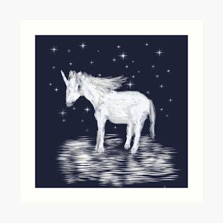 Unicorn picture: white unicorn on navy blue background.