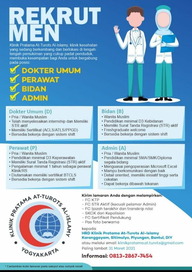 Loker Dokter Umum Klinik Pratama At-Turots Al-Islamy Yogyakarta