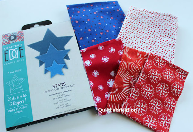 red white and blue fabrics and star cutting dies
