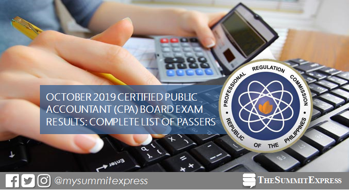 FULL RESULTS: October 2019 CPA board exam list of passers, top 10