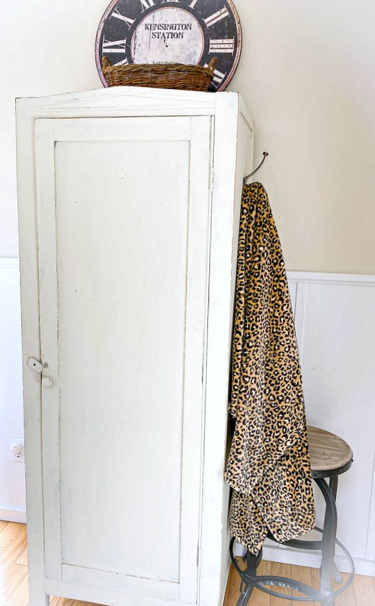 Painted cupboard with leopard throw hanging on the side.