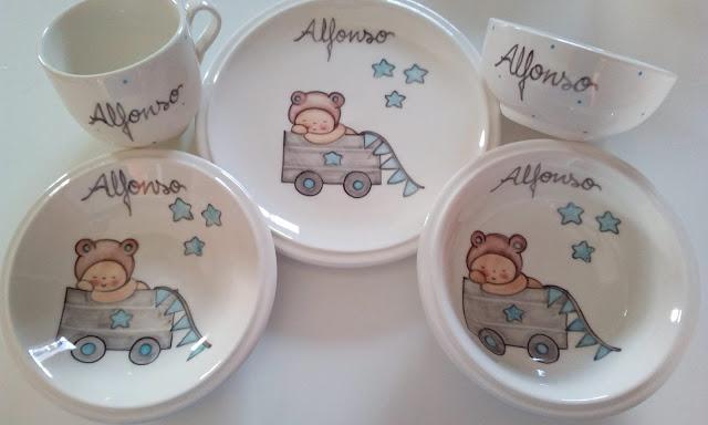 vajilla infantil de cerámica artesanal, personalizada