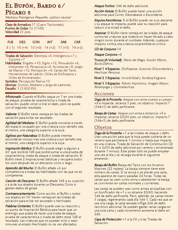 Villanos - El Bufón - Ficha de Personaje