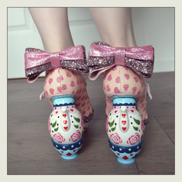 wearing irregular choice my cup of tea teapot teacup heels bow detail
