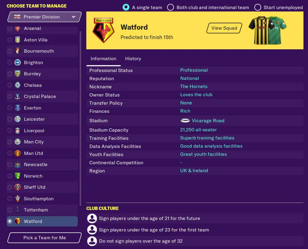 Picking a team in Football Manager 2021