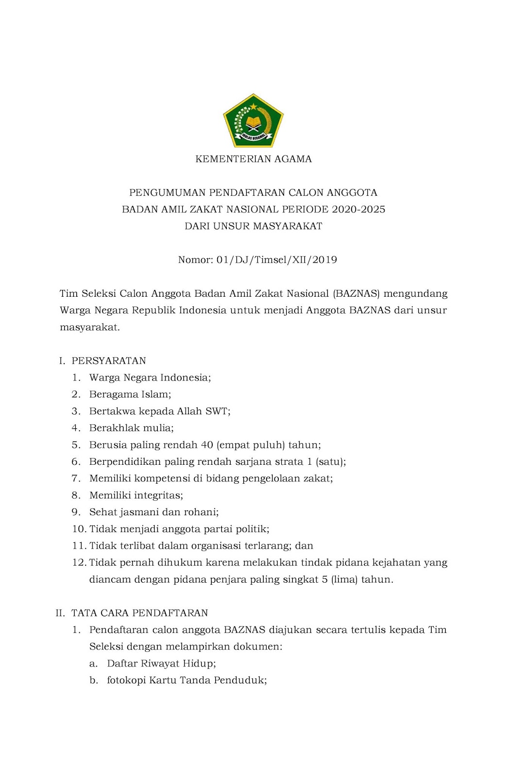 Lowongan Kerja BAZNAS Kementerian Agama Republik Indonesia Tahun Periode 2020-2025