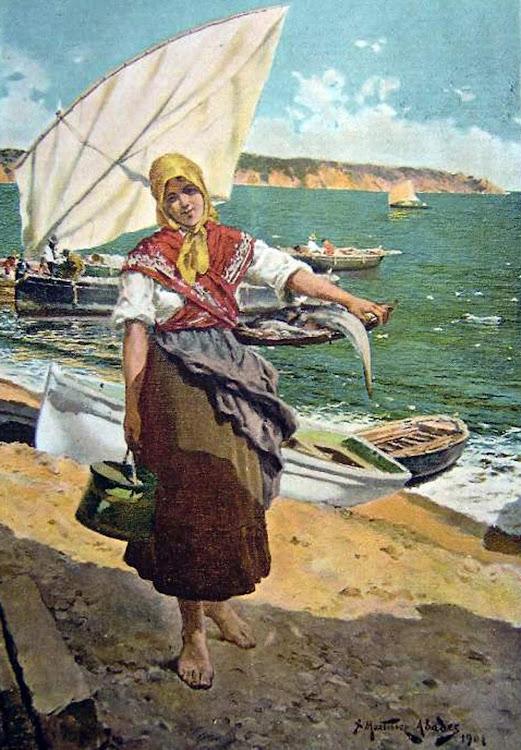 Pescadora en la playa, Juan Martínez Abades, Pintor español, Paisajes de Juan Martínez Abades, Pintor Martínez Abades, Pintores españoles, Pintores Asturianos, Martínez Abades