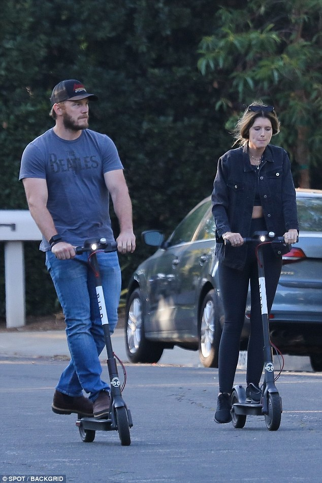 Chris Pratt and girlfriend Katherine Schwarzenegger rides electric scooters to her mom's house for family dinner